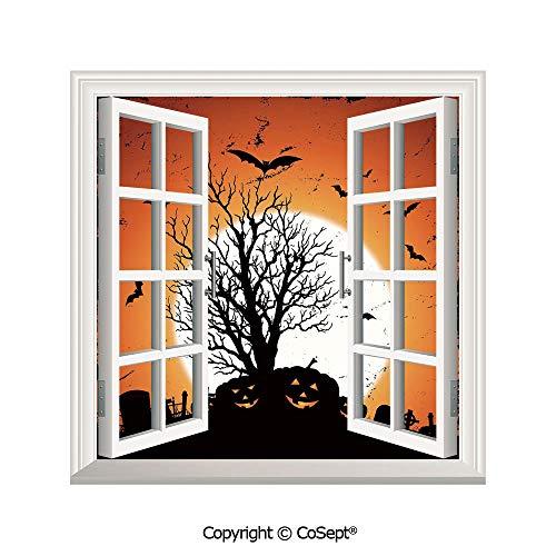 SCOXIXI Creative Window View Wall Decor,Grunge Halloween Image