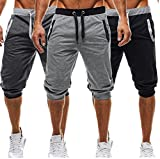 USGreatgorgeous Men's Casual Elastic Waist Harem Training Jogger Sport Short Baggy Pants (L, Dark Gray)