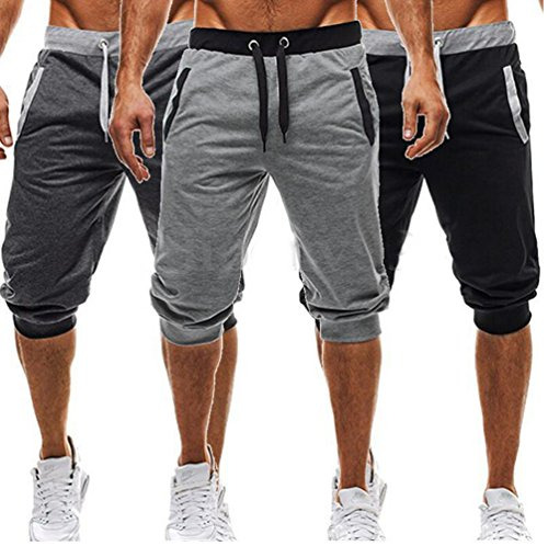 USGreatgorgeous Men's Casual Elastic Waist Harem Training Jogger Sport Short Baggy Pants (L, Light Gray)