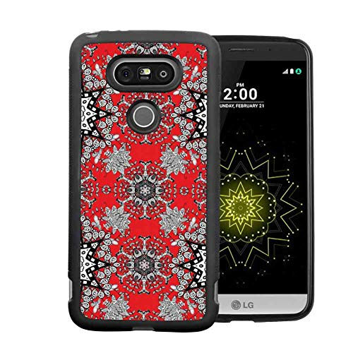 (Case for LG G5 [5.3-Inch] Red Mandala Tribal Ethnic Floral Swirls Leaves Lace Seem Hand Drawn Image Scarlet Grey Black and White )