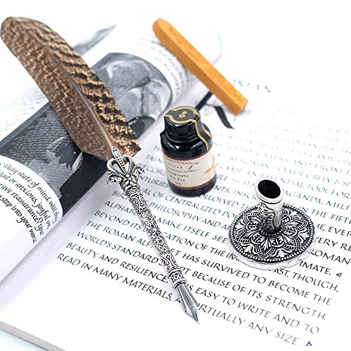 GC Quill Pen Beautiful Nuture Feather Metal Carving Pen Holder 6 Nibs Gift Set GCLL021 by GC Writing Quill (Image #6)
