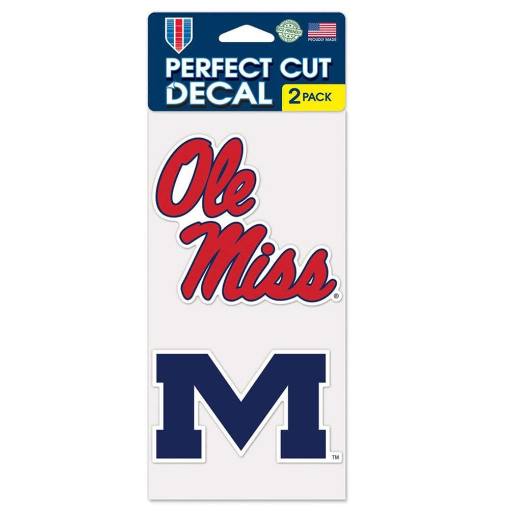 Set of 2 Wincraft Mississippi Ole Miss Rebels Perfect Cut Decal 4 x 4