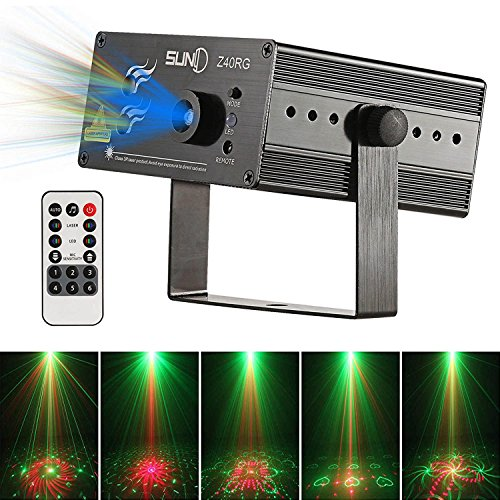 Laser Light Red Green 40 Patterns LED Projector DJ Gear Stage Lighting Show With Blue Auto Sound active Professional Disco DJs Birthday Family Party Clubs and - Hours Mall Tree Store Green