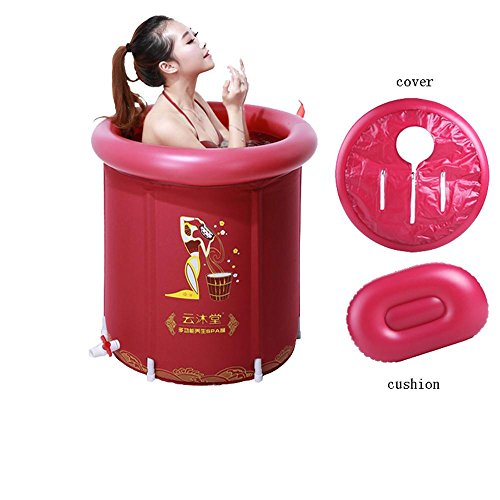 TOYM US Folding Tub With Inflatable Tub ( Color : Red (small)+cover+cushion ) by Folding Bathtub