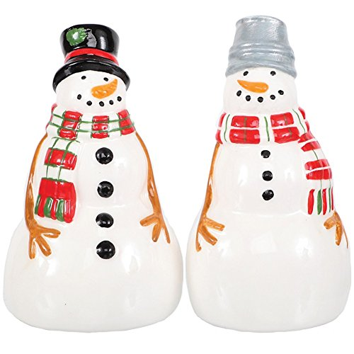 Cute Holiday Ceramic Hand Painted Snowman Salt & Pepper Shakers - 2.5