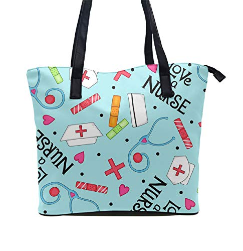 Tote Shopping Bag For Women,Coin Purse MakeUp Bag,School Backpack For Girls Student - Love A Nurse Whimsy Blue