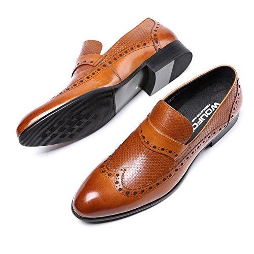 Toro castrado Zapatos Serpentina Resbalón En para Hombres Oxford Cuero Formal Boda Negocio Negro marrón Oficina Trabajo Fiesta tamaño 38-44 Brown