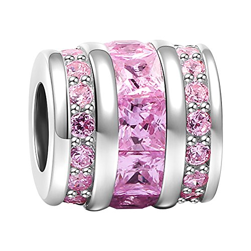 SOUFEEL October Birthstone Charms 925 Sterling Silver Pink Crystal Bucket Charm Bead Fit European Bracelets