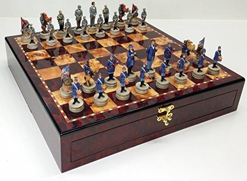 US American Civil War Chess Set W/ 17 High Cherry & Burlwood Color Gloss Storage Board by HPL ()