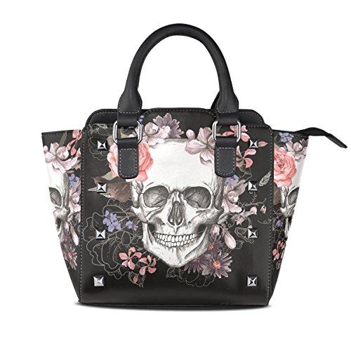 Womens Art Rose Skull Leather Handbags Purses Shoulder Tote Satchel ()