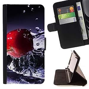 Momo Phone Case / Flip Funda de Cuero Case Cover - Fruta Cereza Agua Macro - Motorola Moto E ( 2nd Generation )