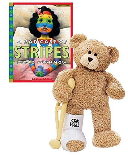 GUND Break a Leg Jr., Broken Leg Bear Get Well Soon Teddy Bear with a Cast (Break a Leg Get Well Bear with Bad Case of The Stripes Book)