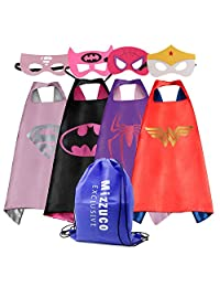 Mizzuco  Cartoon Dress Up Costume Satin Cape with Felt Mask for Girls-4pcs