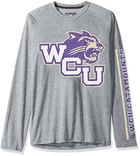 adidas NCAA Western Carolina Catamounts Adult Men sleeve Play Ultimate L/S Tee, X-Large, Medium Grey Heather