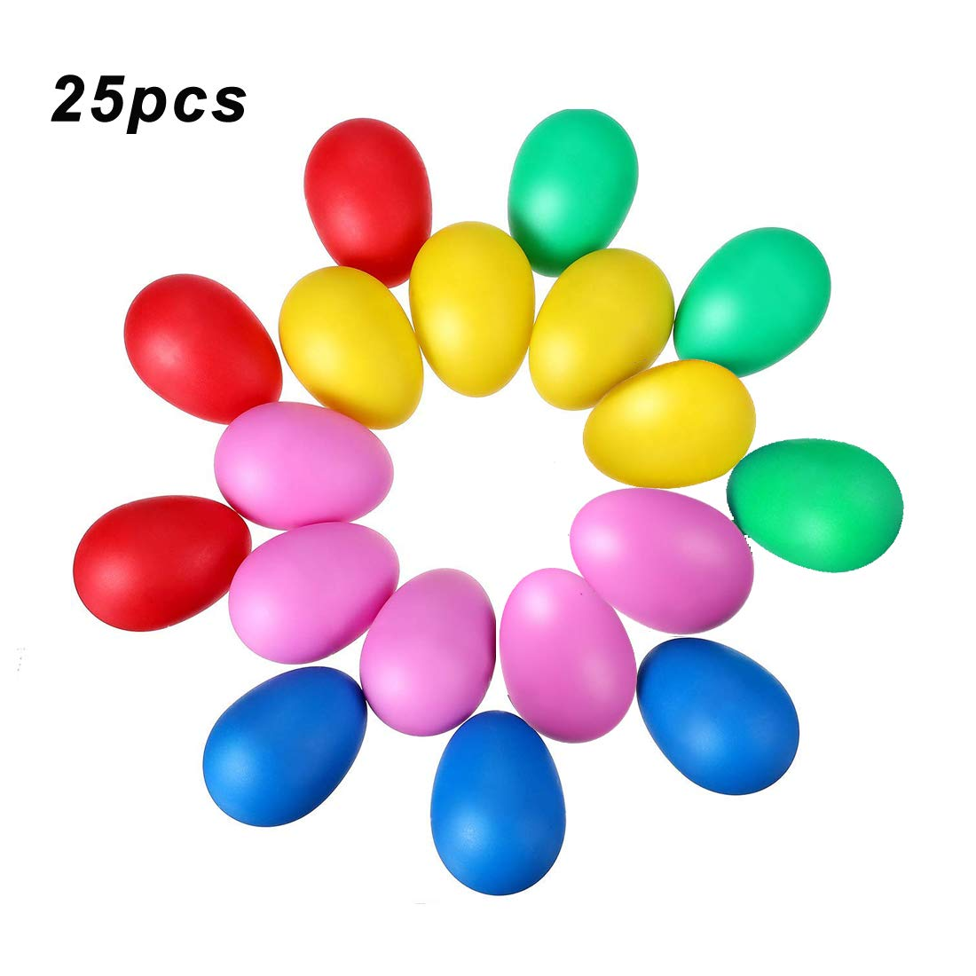 25pcs Plastic Egg Shakers Set with 5 Different Colors, DUTISON Percussion Musical Egg Maracas Child Kids Toys