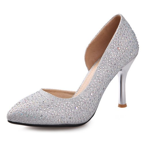 AmoonyFashion Womens Closed Pointed Toe High Heel Soft Material PU Solid D-orsay Pumps with Glass Diamond Silver H9JbDtJBOK