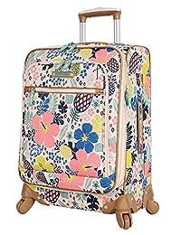 Lily Bloom veliz de equipaje con ruedas giratorias, diseño ampliable, para mujer, Trop Pineapple, 20in