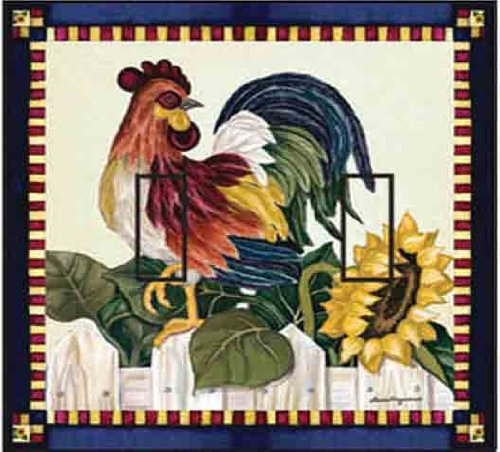 SwitchStix Roosters Double Toggle Peel and Stick Switch Plate Cover Décor (Rooster Switchplate)