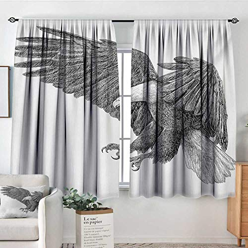 - Theresa Dewey Customized Curtains Eagle,Black and White Pencil Drawing Style Eagle with Detailed Features Wild Nature,Black Grey White,Wide Blackout Curtains, Keep Warm Draperies, Set of 2 63
