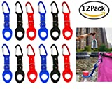 JM-capricorns 12 Pack Silicone Water Bottle Holder Hook W/ Key Ring - Hanging Buckle Mineral Water Bottle Clip Drink Holder Buckle for Outdoor Camping Hiking Traveling