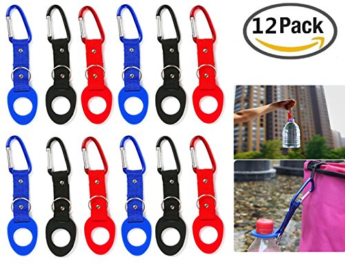 JM-capricorns 12 Pack Silicone Water Bottle Holder Hook W/ Key Ring - Hanging Buckle Mineral Water Bottle Clip Drink Holder Buckle for Outdoor Camping Hiking Traveling by JM-capricorns (Image #4)