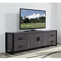WE Furniture 70 Industrial Wood TV Stand Console, Charcoal