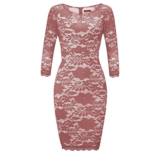 FISOUL Womens Cocktail Dresses Vintage Floral Lace Long Sleeve Wedding Bodycon Formal Dress For Woman Party Pink XXL
