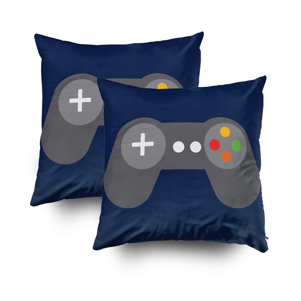 Musesh Pack of 2 Blue Video Games Controller Lumbar Cushions Case Throw Pillow Cover for Sofa Home Decorative Pillowslip Gift Ideas Household Pillowcase Zippered Pillow Covers 20X20Inch
