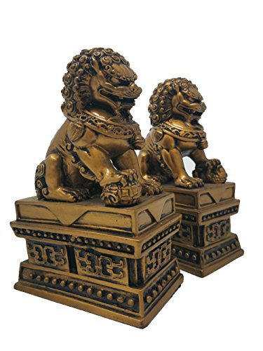 Wealth Porsperity Pair of Fu Foo Dogs Guardian Lion Statues + Free Set of 10 Lucky Charm Ancient Coins on Red String,Best Housewarming Congratulatory Gift to Ward Off Evil Energy,Feng Shui Decor (Statues Pair Lion)