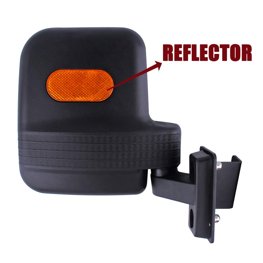 NOT FOR ROUND ROLL BARS UNIGT Side View Mirror Set Replacement for Polaris Ranger 570 900 XP Fits Lock N Ride Factory Cage Frame Side Mirrors