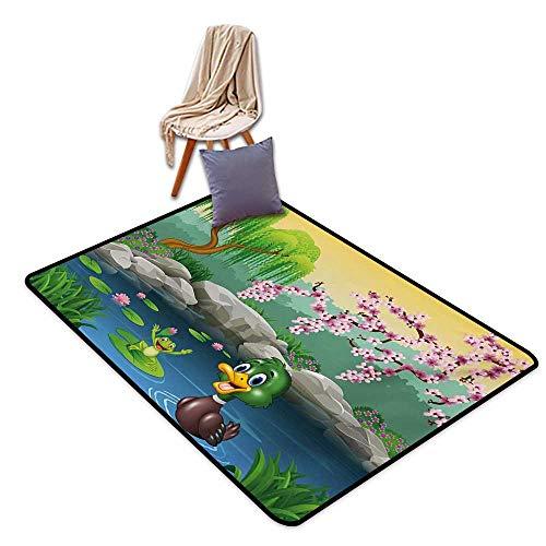 (Cartoon Indoor Super Absorbs Mud Doormat Vector Cute Ducks Frogs in a Lake Pond Trees Image Kids Nursery Design Artwork Water Absorption, Anti-Skid and Oil Proof 40