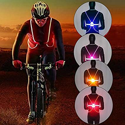 YiXUAN Led Running Reflective Vest Safety Night Light USB Rechargeable Cycling Safety