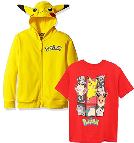 Pokemon Costumes Red (Pokemon Little Boys Pikachu Costume Hoodie, Yellow/Red Set,)