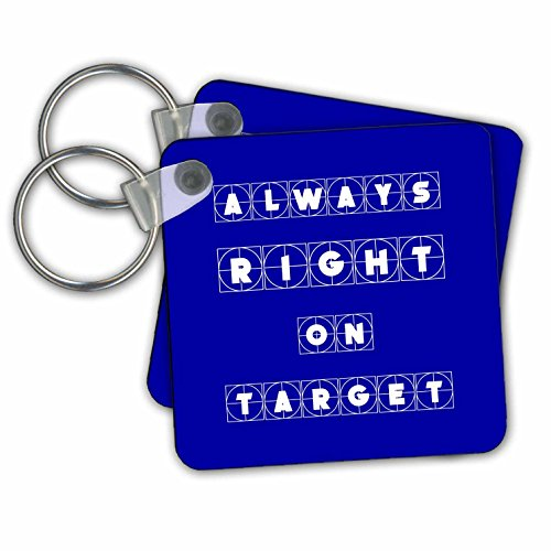 (Alexis Design - Focus - Always right on target cross hairs text on blue background - Key Chains - set of 2 Key Chains (kc_286136_1))