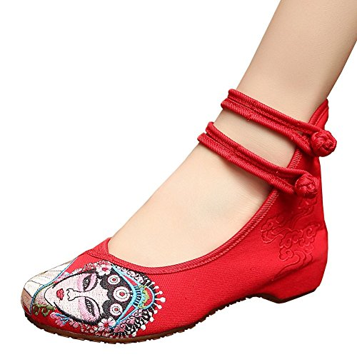 Fereshte Womens Beijing Opera Facial Masks Embroidery Oxford Sole Wedge Shoes Red EU 39 - US 8 (Dance Costumes From China)