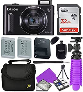 Canon PowerShot SX610 HS - Wi-Fi Enabled Digital Camera (Black) with Sandisk 32 GB SD Memory Card + Extra Battery + Tripod + Case + Card Reader + Cleaning Kit