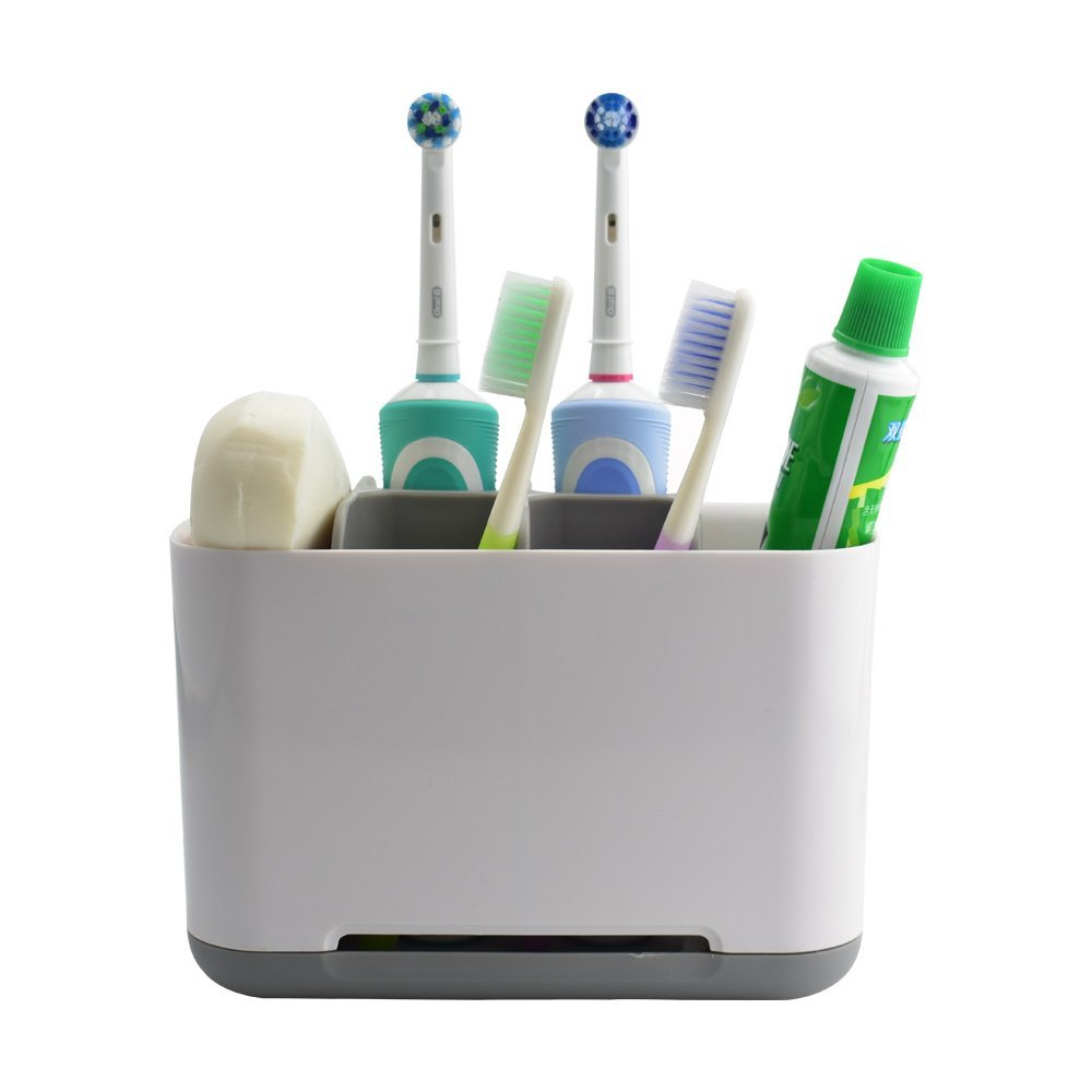 Sam4shine Toothbrush Holder, Upgraded Bathroom Toothbrush Caddy, Electric/Battery Toothbrush and Toothpaste Organizer Rack (Grey, Large)