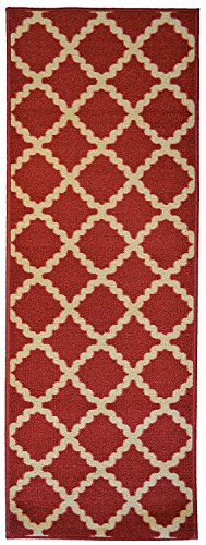 "ADGO Contemporary Kitchen Bathroom Hallway Moroccan Trellis Design Rubber-Backed Non-Slip Non-Skid Runner Area Rugs, Cherry Red Light Yellow, 24"" x 7"