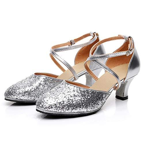 Mujer Fiesta Zapatos Prom Latina Moda De Vecdy rumba Waltz 2019 Calzados Salsa Ballroom Lentejuales Cuadrados Con Plateado Baile Blingbling Z7qAw4