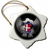 3dRose orn_159462_1 Denmark Soccer Ball with Crest Team Football Danish Snowflake Ornament, Porcelain, 3-Inch