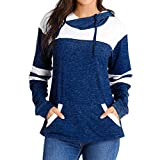 Sweatshirt Fashion 755 Londony ‿ Womens Active Hoodies Long Sleeves Color Block Patchwork with 2 Pockets