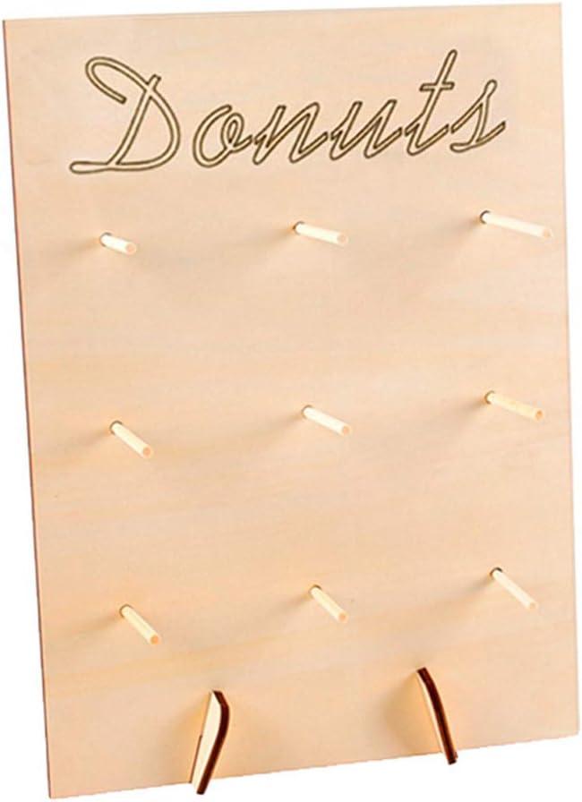 Ggdoo Muebles para el hogar Natural de Kraft Acabado de Anillos Muestra de Madera Donut Soporte bu/ñuelo Marco de la exhibici/ón Soporte bu/ñuelo Decorativo