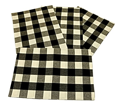 C&F Home, Franklin Black and White Checked Placemats 13x19 inches Set of 4 Woven Cotton