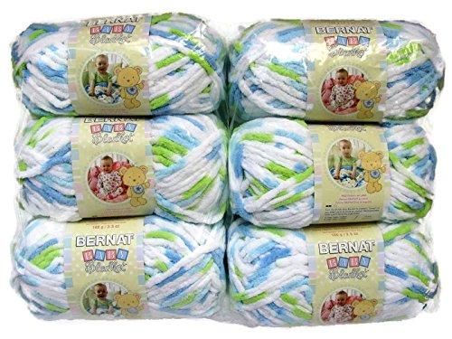 BERNAT Baby Blanket Yarn, 3.5oz, 6-PACK (Funny Prints) Yarn Baby Blankets