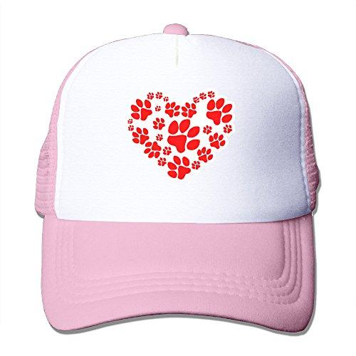 Cute Paw Heart Handprint Mesh Trucker Hat For Men Women Pink