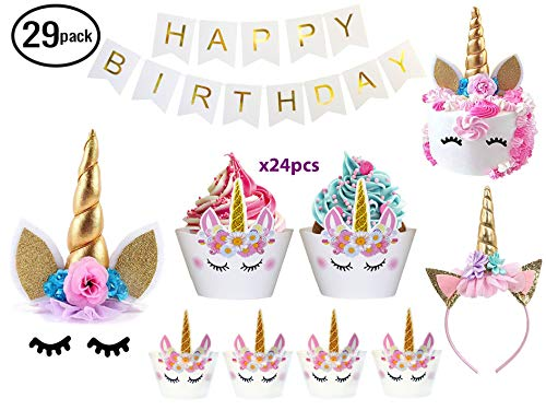 Bestus (29 pack) Unicorn Cake Topper with Eyelashes, Headband, Cupcake Wrappers and Happy Birthday Banner./Unicorn Party Supplies,for Birthday Party, Baby Shower, Kids Party Decoration by Bestus