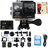 HPRO Black 4.0 Sports Action Waterproof Camera 170° Wide View Full HD1080p 12MP 30m/92 Feet Water Resistant WiFi Enabled 22 Accessories SD Card DVR Sport Action DV Camcorder