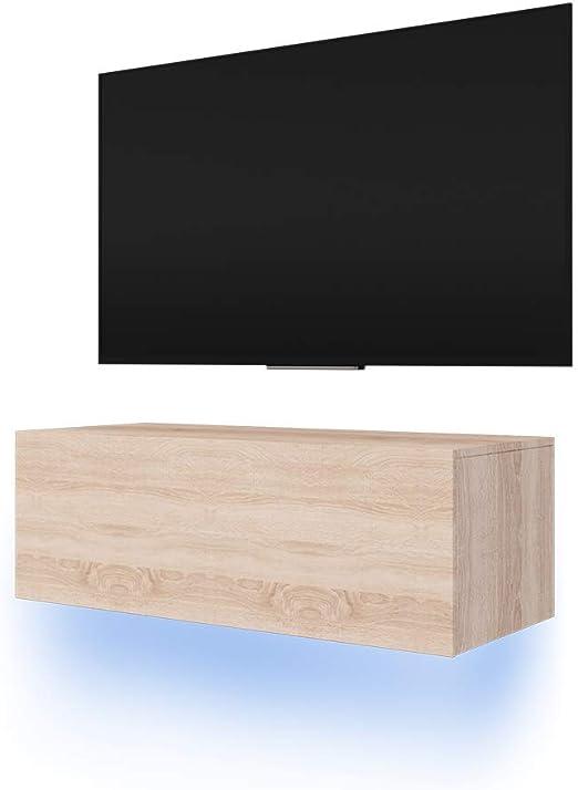 Selsey Lana Fernsehschranktv Lowboard Mit Led Modern Hängend 100 Cm Holzoptik Sonoma Eiche Matt