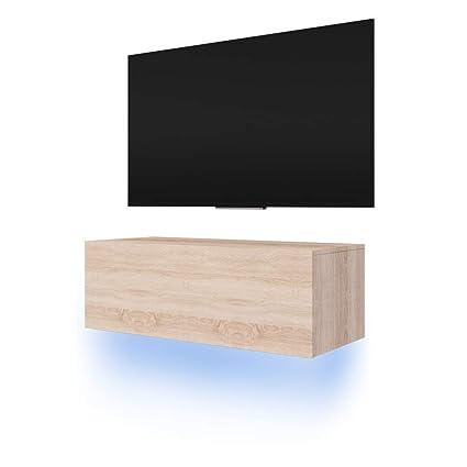 Lana Meuble Tv Suspendu Table Basse Tv Banc Tv De Salon 100 Cm Aspect Bois De Chêne De Sonoma Avec La Led Bleue