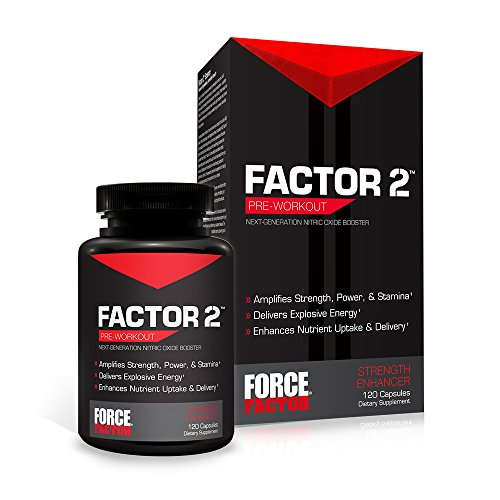 Factor 2 Nitric Oxide Booster, Pre-Workout L-Citrulline Supplement to Build Muscle, Power, Strength, Stamina, and Energy, Force Factor, 120 Count (Nitric Oxide Release)